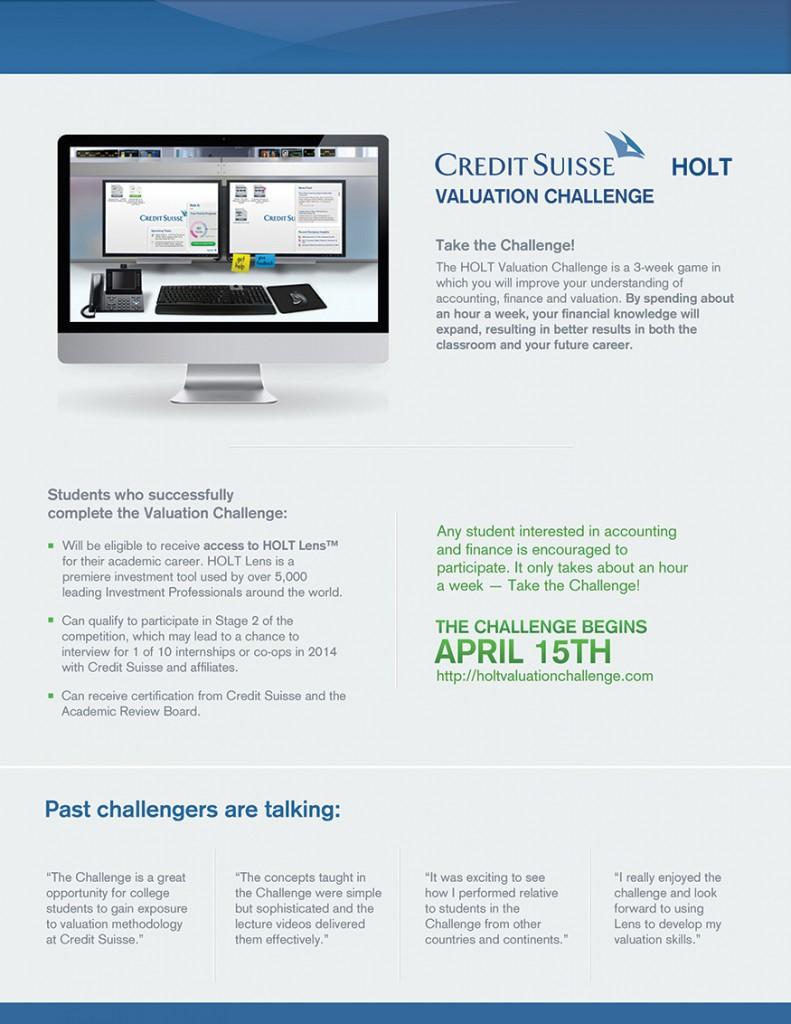 Game On Credit Suisse Holt Valuation Challenge 171 Career Insider