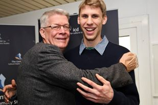 Mike Pressl '12 with  former President of Latvia after having interviewed him at an ICD conference last semester.